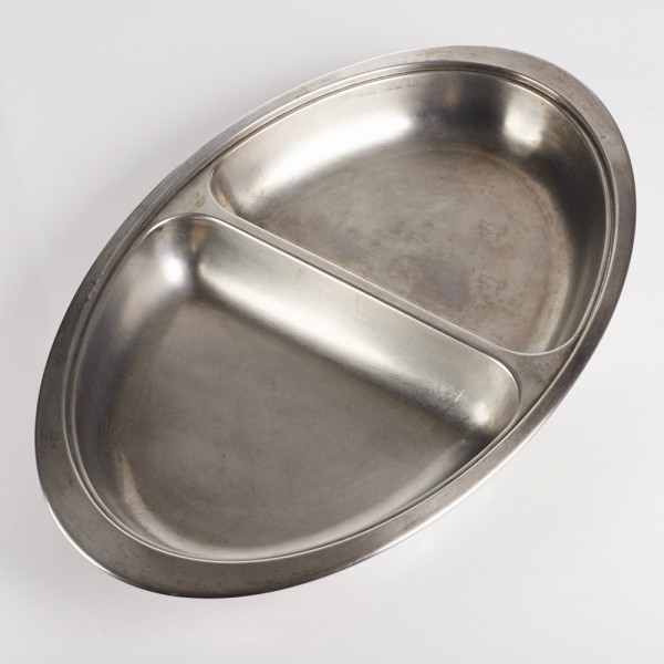 "12"" Two Compartment Oval Dish, Stainless Steel"